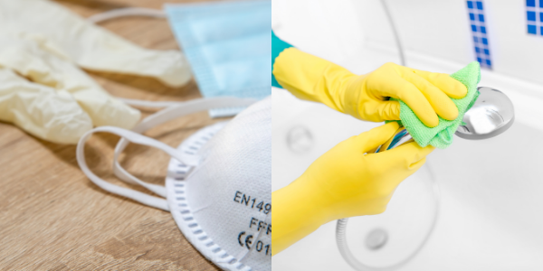 hand hygiene and protective gloves and mask