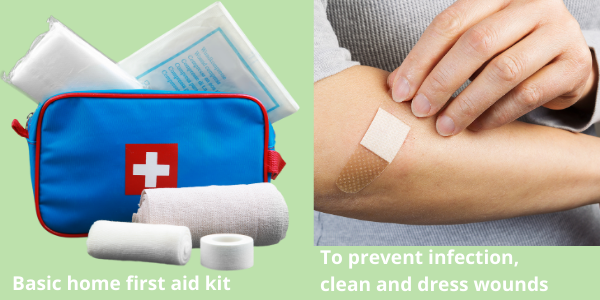 Skin flora, first aid kit and wound care